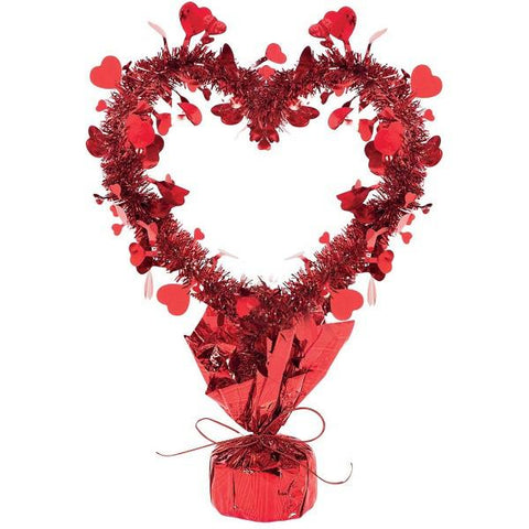 "Valentine's Day Red Tinsel Heart 8.25""x14"" Centerpiece"