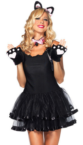 3 Pc Fluffy Kitty Kit,Plush Fingerless Paws,Bell Collar, Ear Headband One-Size Black/Pink