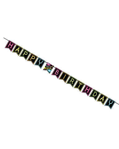Glow Party Happy Birthday Jointed Ribbon Banner