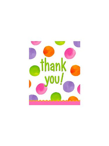 Big 1 Dots Girl Thank You Cards