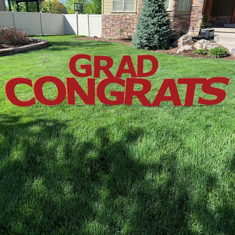 "Graduation Outdoor Lawn Sign Giant 20""Red Congrats Grad with Metal Stakes"
