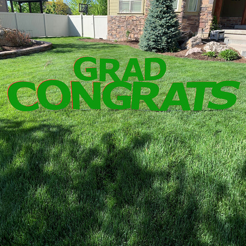 "Graduation Outdoor Lawn Sign Giant 20""Green Congrats Grad with Metal Stakes"