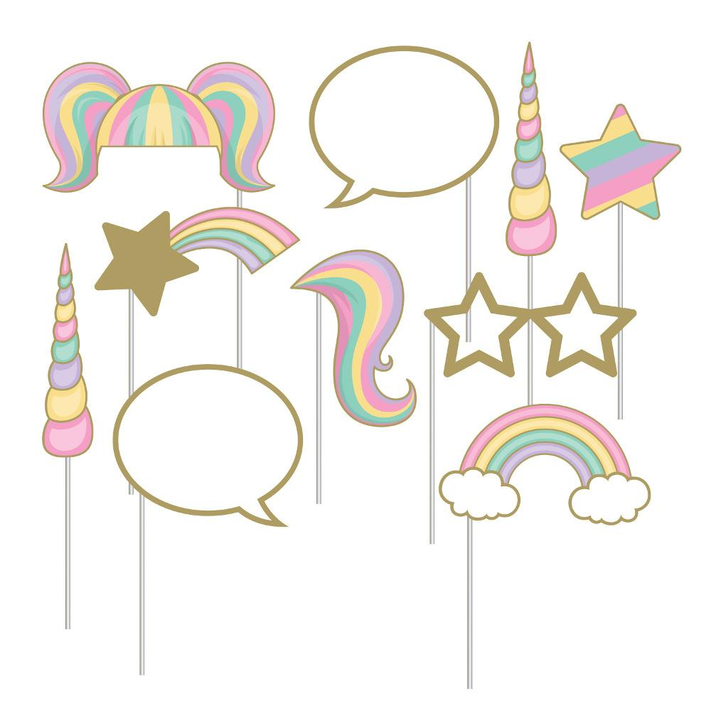 Unicorn Sparkle Photo Booth Props 10 Ct Card Party Giant