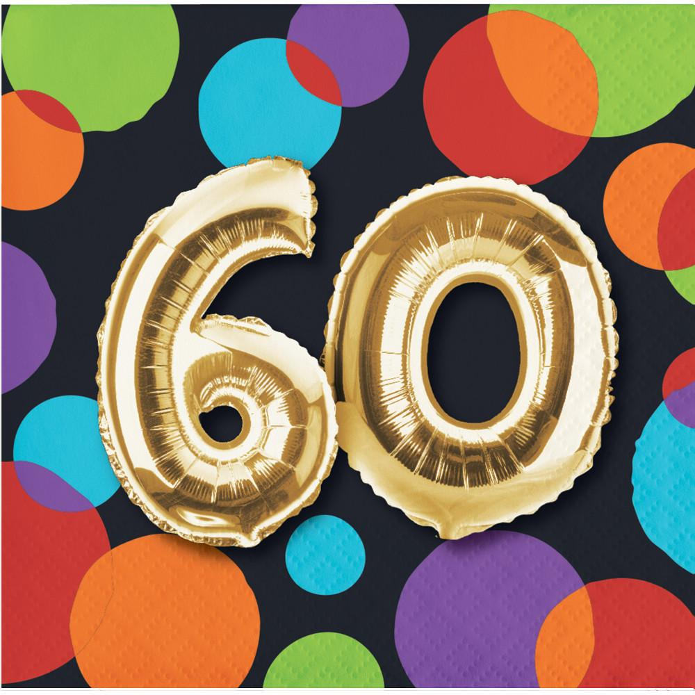 Balloon 60th Birthday Beverage Napkins 16 Ct Card Party Giant
