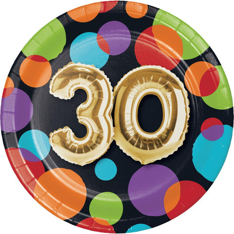 Balloon 30th Birthday Dessert Plates (8 Ct.)