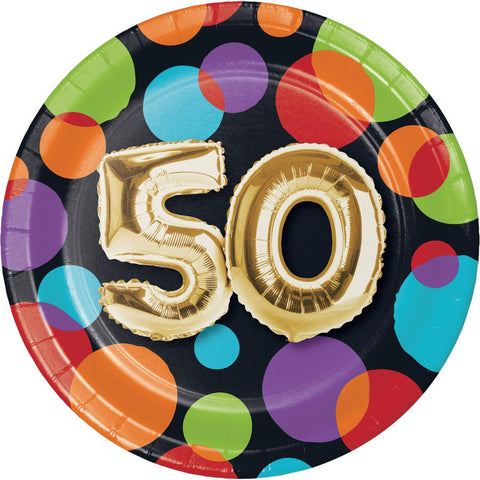 Balloon 50th Birthday Dessert Plates (8 Ct.)