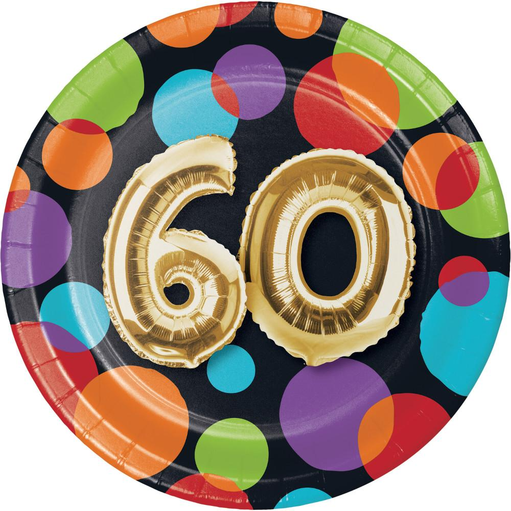 Balloon 60th Birthday Dessert Plates 8 Ct Card Party Giant