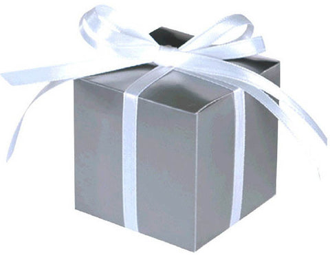 Small Paper Favor Boxes, Silver (100 Ct.)