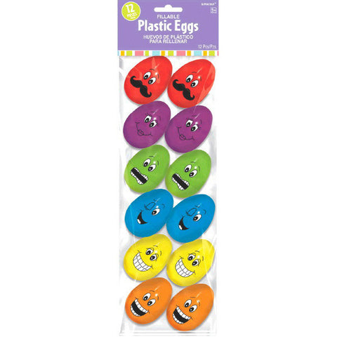 Funny Face Plastic Easter Eggs (12 Ct.)