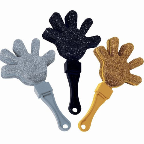 Glitter Plastic Hand Clapper Value Pack - Black, Silver & Gold