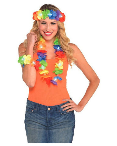 Light-Up Lei Headwreath & Wristlet Set (3 Pack)