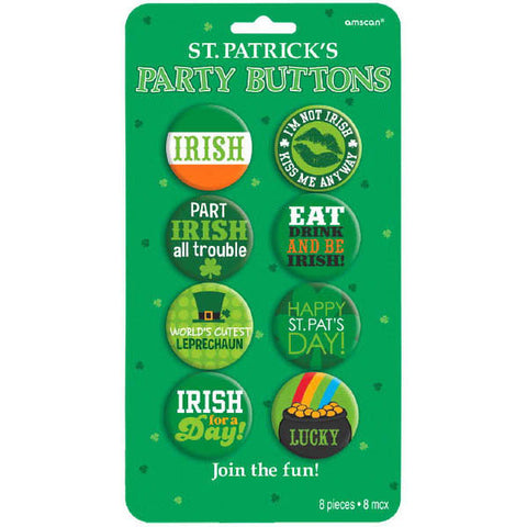 Assorted St. Patrick's Day Party Buttons (8 Ct.)