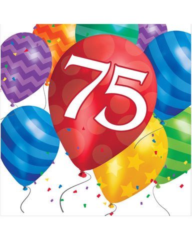 Balloon Blast 75th Birthday 2-Ply Lunch Napkins (16 Ct.)