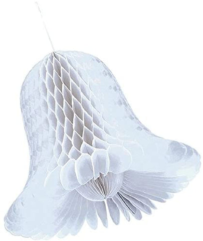 Small White Bridal Honeycomb Bells 4ct