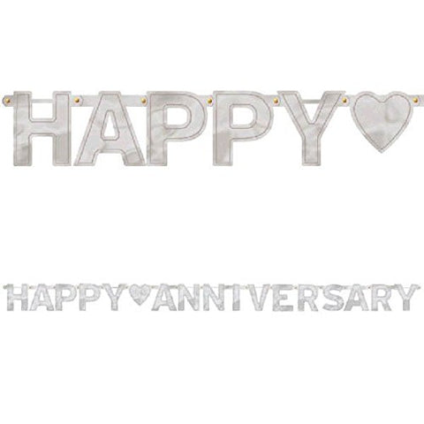 Happy Anniversary Foil Letter Banner Silver