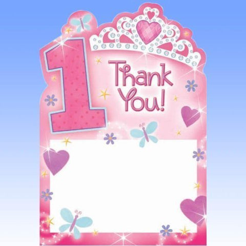 1st Birthday Princess Thank You Postcards