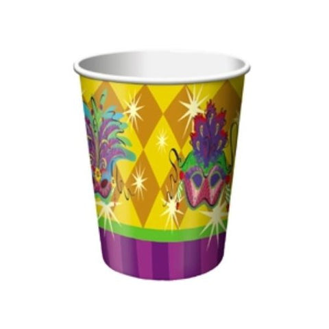 Mardi Gras 9oz Paper Cups - 8ct