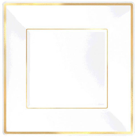 "Plastic 7.25"" Square Dessert Plates, White with Gold Trim (8 Ct.)"