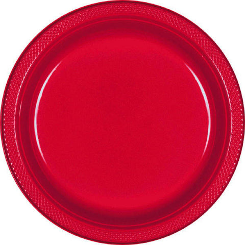 "Apple Red 7"" Plates 20Ct Plastic"