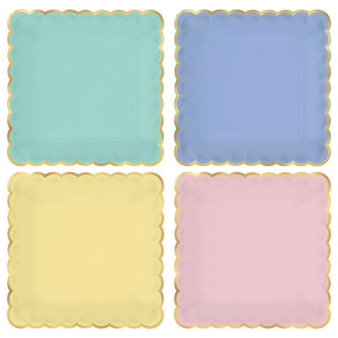 "SQUARE PLATES METALLIC SCALLOPED EDGED-7"" paper Pastel Colors with Gold Border"