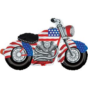 "47'""Patriotic American Flag Motorcycle Harley Davidson Hog Bike Foil Mylar Balloon-Rack"
