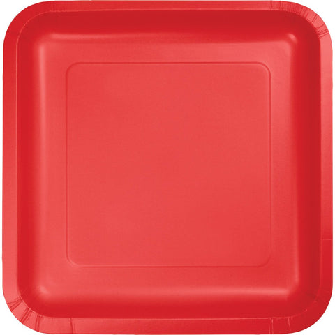 "Classic Red Square 9"" Dinner Plates (18 Ct.)"