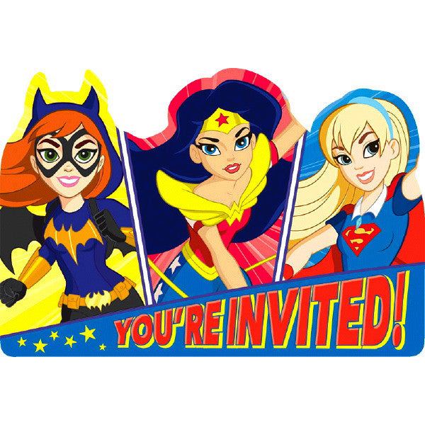Dc Super Hero Girls Postcard Invitations 8 Ct Supergirl Card