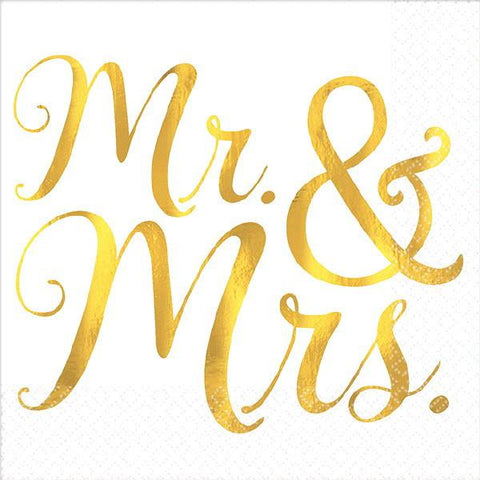 """Mr. & Mrs."" Hot Stamped Beverage Napkins (16 Ct.)"