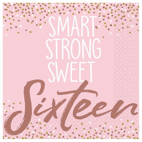 Sweet Sixteen 16 Blush Beverage Napkins