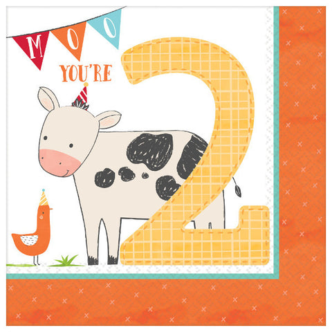 Barnyard Farm Birthday Luncheon Napkins - 2nd Birthday