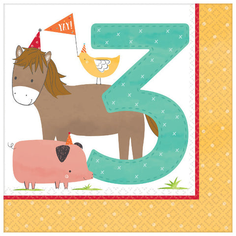 Barnyard Farm Birthday Luncheon Napkins - 3rd Birthday