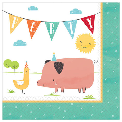 Barnyard Farm Birthday Luncheon Napkins 16ct