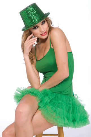 GREEN GLITTER TOP HAT- St. Patrick Day or Green School Spirit Hat