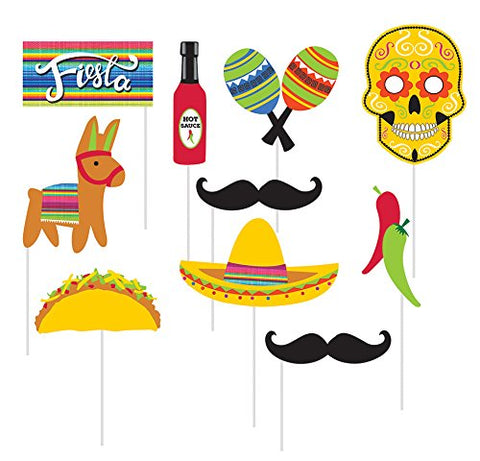 10-Piece Photo Props For Party, Serape Fiesta Cinco de Mayo