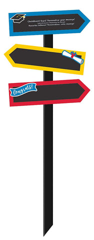 Graduation Large Chalkboard Yard Stake - Multicolor