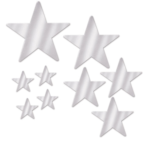 Assorted Size Silver Foil Star Cutouts (9 Ct.)