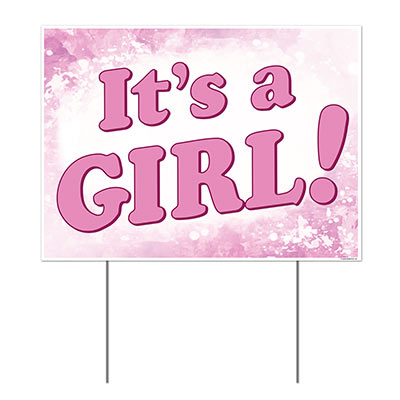 It's A Girl Plastic Yard Lawn Sign