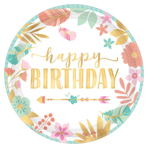 "Boho Birthday Girl 7"" Metallic Plates 8ct"