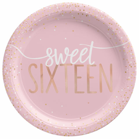 "Blush Sweet 16 Sixteen Foil Round Plates, 7"" 8 ct"