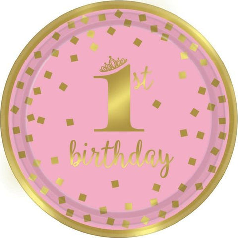 "1st Birthday Girl Pink and Gold Hot-Stamped 9"" Dinner Plates (8 Ct.)"