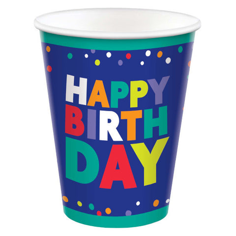 Bold Happy Birthday 9 Ounces Paper cups