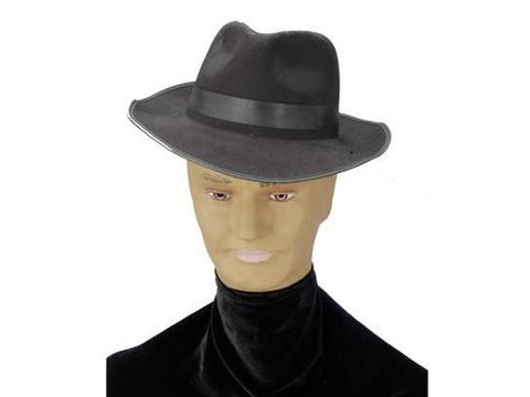 Flocked Gangster Hat-Black