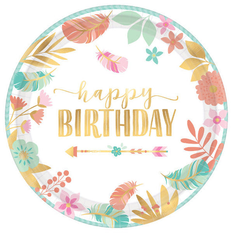 Boho Birthday Girl Round Metallic Plates, 10 1/2""
