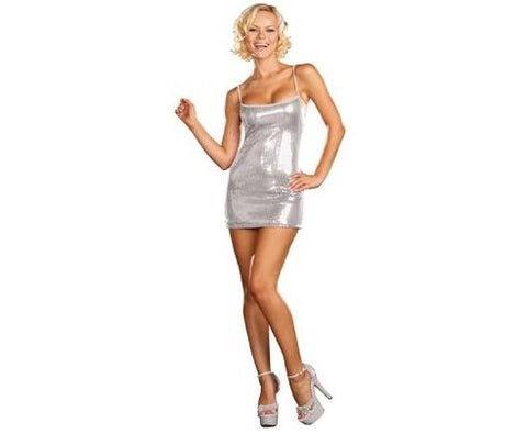 Silver Sequin Dress - Women's Sexy Costume Starter