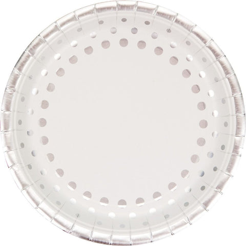 "Paper Banquet Plates, 9"", White Sparkle and Shine Silver"
