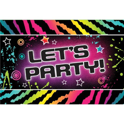 Let's Party Invitations 8ct 80s theme