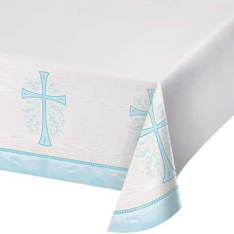 "Divinity Blue Plastic Tablecloth, 54"" x 102"","