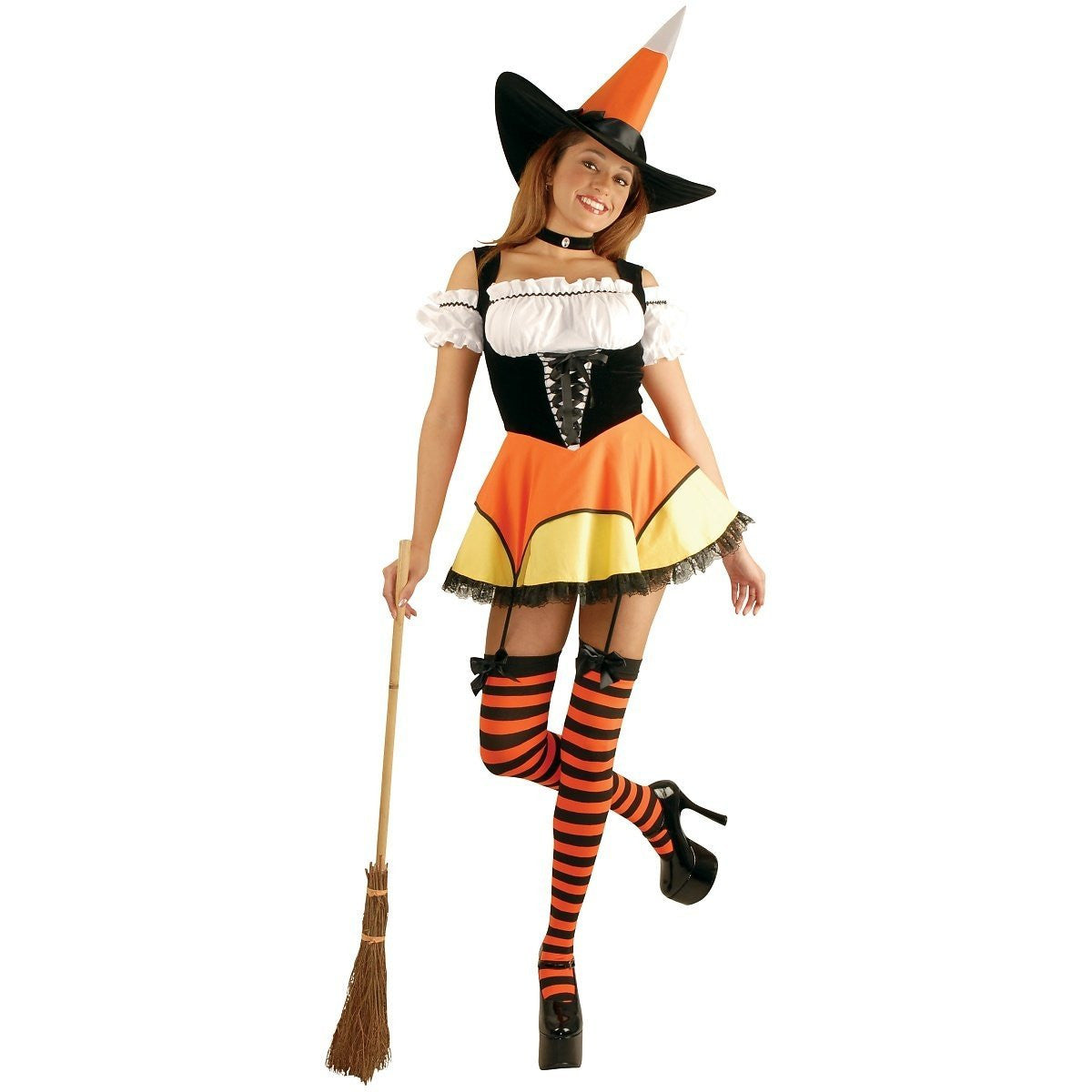 Candy Corn Witch - Womenu0027s Sexy Costume  sc 1 st  Card u0026 Party Giant & Candy Corn Witch - Womenu0027s Sexy Adult Costume (Teen and X-Small ...