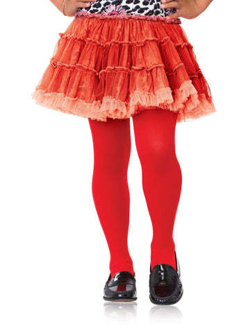Girl's Fashion Red Nylon Footed Tights by Leg Avenue