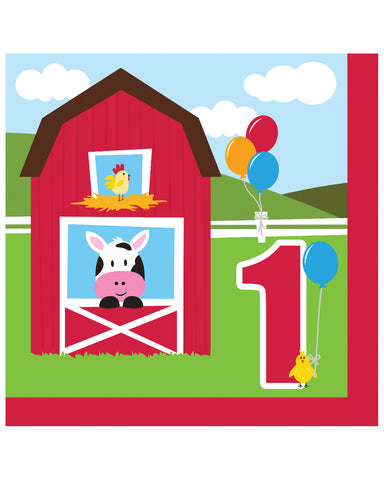 Farmhouse Fun 1st Birthday 2-Ply Lunch Napkins (18 Ct.)